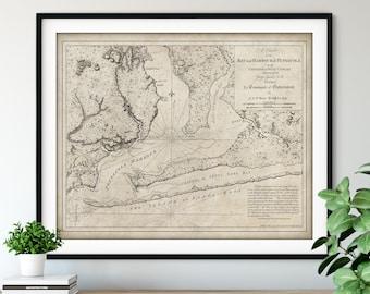 1780 Pensacola Harbour Map Print, Vintage Florida Map Art, Antique Map Wall Art, Old Map Poster, Sailing Gift, Nautical Chart, Pensacola Bay