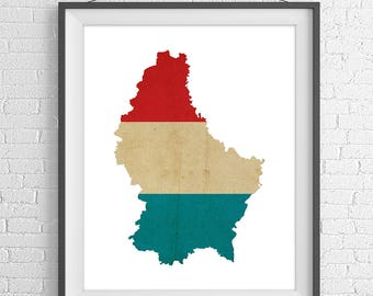 Luxembourg Flag Map Print, Luxembourg Map, Luxembourg Silhouette, Housewarming Gift, Vintage Flag Poster, Wall Art, Map of Luxembourg