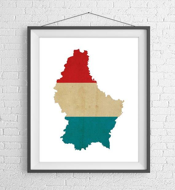 Luksemburgu Flaga Mape Print Luksemburg Mapa Luksemburg Etsy