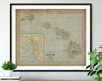1901 Hawaii Map Print, Vintage Map Art, Antique Map, Old Map, Hawaiian Islands, Oahu Map, Maui Map, Big Island, Kauai Map, Molokai, HI Gift