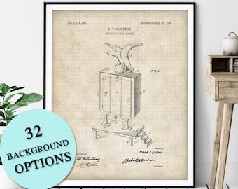 Magicians Cabinet Patent Print - Customizable Magic Blueprint Plan, Aspiring Magician Gift, Magic Trick Poster, Magic Art, Magic Print
