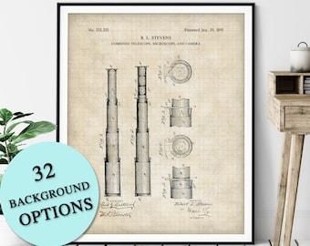 Telescope Patent Print - Customizable Nautical Blueprint, Ship Anchor Plan, Sailor Gift, Sailing Poster, Coastal Art, Maritime Wall Decor