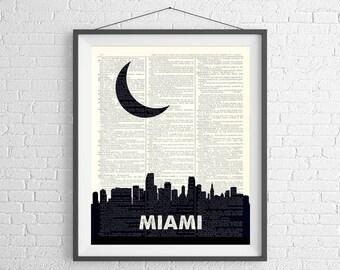 Miami Skyline Print, Miami FL Prints, Miami Skyline Wall Art, Dictionary Art Print, City Prints, City Skyline Art, Florida Gifts, Miami Art