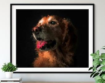 Golden Retriever Print, Yellow Labrador Art, Lab Gifts, Dog Portrait, Pet Oil Painting, Dog Lover Gift, Dog Decor, Dog Mom, Dog Dad Artwork