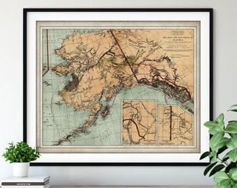 1898 Alaska Gold & Coal Fields Map Print - Vintage Map Art, Antique Map, Old Map Poster, Geological Survey, Alaskan History Buff Gift