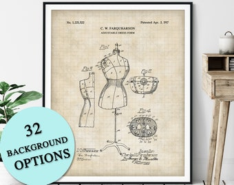 Dress Form Patent Print - Customizable Mannequin Blueprint Plan, Fashion Designer Gift, Dressmaker Art, Seamstress Wall Decor, Tailor Gift
