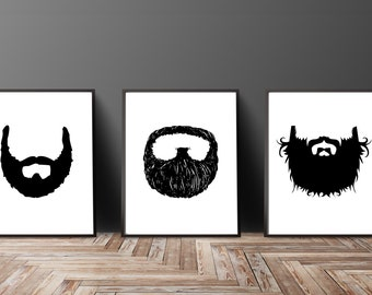 Beard Print Set, Beard Painting, Beard Art Print, Beard Artwork, Hipster Wall Art, Man Cave Decor Manly Funny Gifts, Christmas Gifts For Him