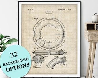 Ring Buoy Patent Print - Customizable Nautical Blueprint, Life Preserver Plan, Sailor Gift, Sailing Poster, Coastal Art, Maritime Wall Decor