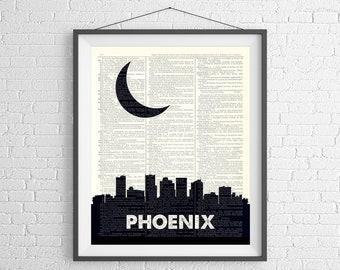 Phoenix Skyline Print, Phoenix AZ Prints, Phoenix Skyline Wall Art, Dictionary Art Print, City Prints, Skyline Art, Cityscape, Arizona Gifts