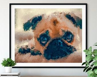 Pug Print, Fawn Pug Art, Pug Gifts, Dog Portrait, Cute Pet Oil Painting, Dog Lover Gift, Dog Decor, Dog Mom, Dad Wall Art, Living Room Entry
