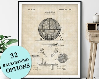 Bicyclist Globe Patent Print - Motorcycle Globe of Death, Customizable Blueprint, Carnival Stunt Plan Poster, Gift, Circus Act Art, Gift