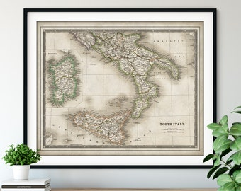 1844 South Italy Map Print - Vintage Map Art, Antique Map, Old Map Poster, Italian Wall Art, Sardinia, Sicily, Southern Italy, Rome Calabria