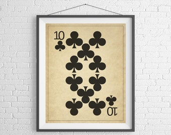 Playing Card Art, Game Room Decor, Game Room Art, Game Room Wall Art, Poker Gifts, Gambling Gift, Vintage Wall Art, Man Cave Art, Bar Decor