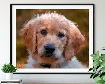 Golden Retriever Print, Yellow Labrador Art, Lab Puppy Gifts, Dog Portrait, Pet Oil Painting, Dog Lover Gift, Dog Decor, Dog Mom Dad Artwork