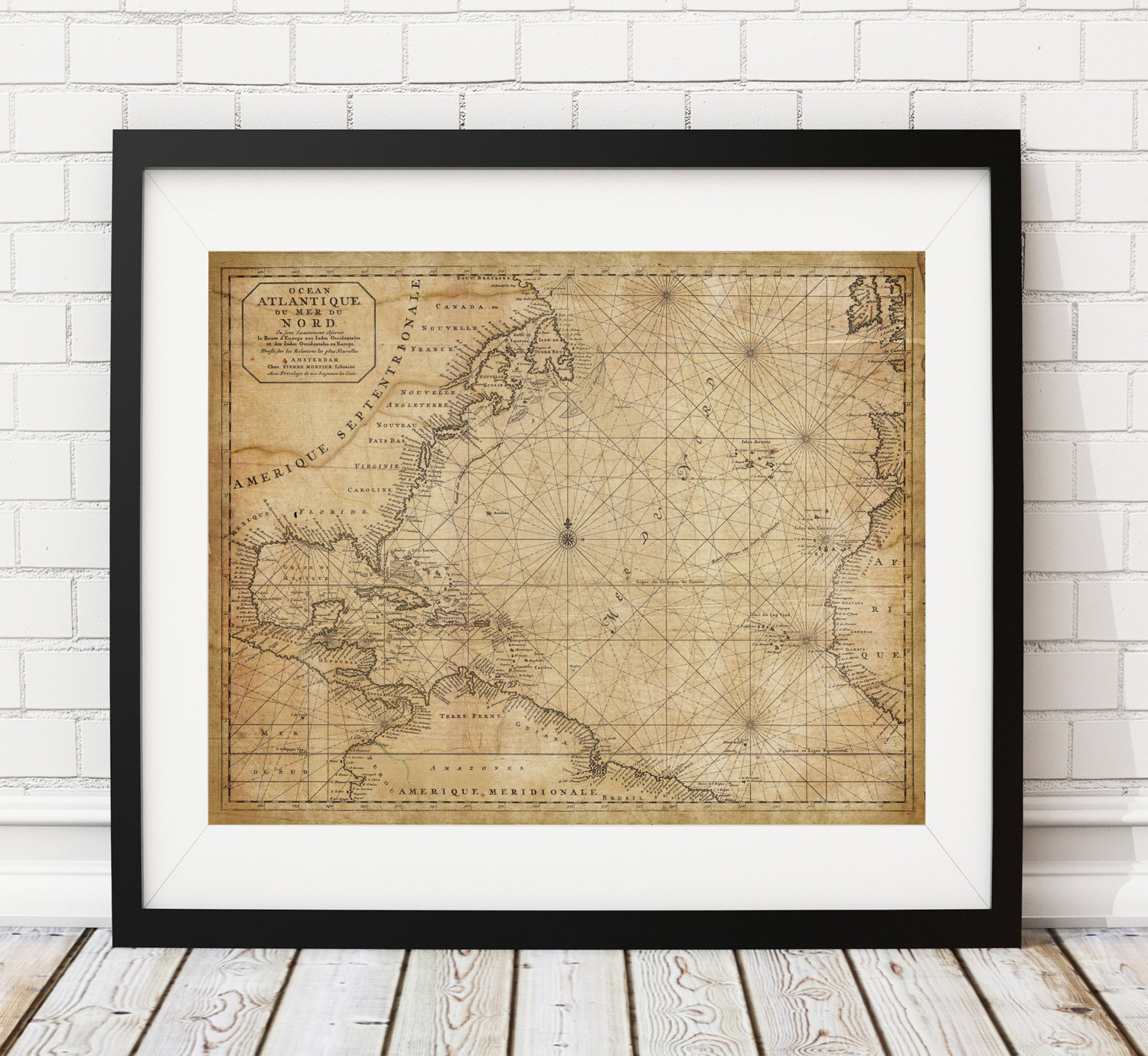North Atlantic Ocean Nautical Map Print, Vintage Map Art, Antique ...