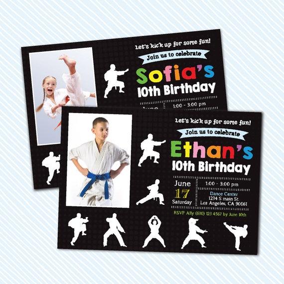 Digital Printable Karate Birthday Invitation Girl