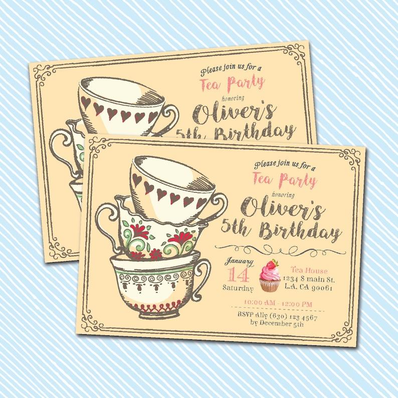 photo relating to Printable Tea Party Invitations named Electronic Printable Tea Celebration Invitation. birthday invite. shower invite Woman Birthday.