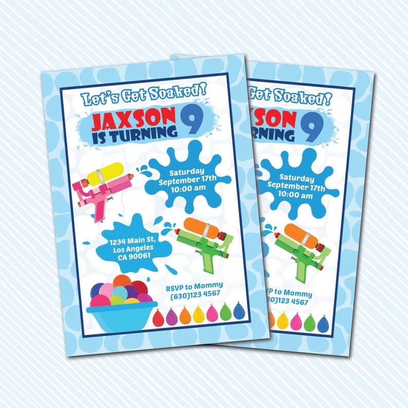 Water Bash invitation water gun party Digital Printable Water Game Birthday Invitation