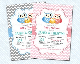 Digital Printable Owl baby Shower Invitation. baby invitation