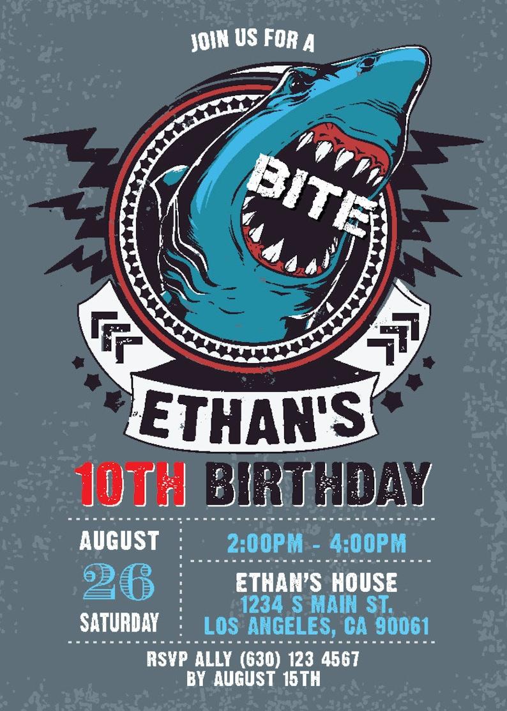 Boy Birthday Party Digital Printable Shark Birthday Invitation