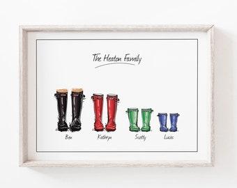 Wellies Print, Wellington Boot, Print, Wall Art Print, Family Gift, Personalised Family Print, Custom Friend Art, Personalised Gift, Art