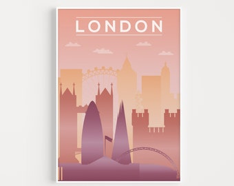 London City Poster, Travel Print, Wall Art, Modern City Poster, Modern Travel Art, City Scape Print, London Art, London Print, London Poster