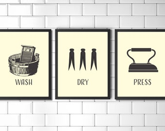 Set Of Prints, Wall Art Print Set, Laundry Room, Prints, Vintage Style  Prints, Laundry Wall Art, Wall Art, Utility Room Print, Print Set