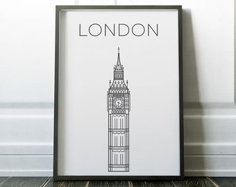 Perfect Wall Art, London Print, London Poster, London Wall Art, Travel Print, Black  And White, Prints, Travel Wall Art, Minimalist Wall Art, Posters