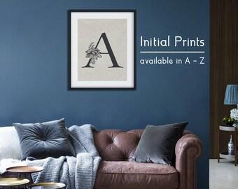 Initial Wall Art, Wall Art, Letter Print, Initial Print, Letter Wall Art,  Prints, Wall Art Print, Scandinavian Print, Minimalist Wall Art