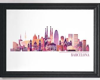 Barcelona Print, Travel Print, Travel Poster, City Print, Wall Art Prints, Minimalist Print, Barcelona Art, Modern Art, Minimalist Art, Art