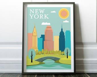 Wall Art, New York Poster, New York Print, Wall Art Print, Minimalist Print, Minimalist, Art Print, Minimalist Poster, Scandinavian Print