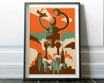 Retro Print, Retro Poster, Robot Print, Retro Robot Print, Fine Art Print, Retro Art, Wall Art Print, Robot Poster, Retro Wall Art, Retro