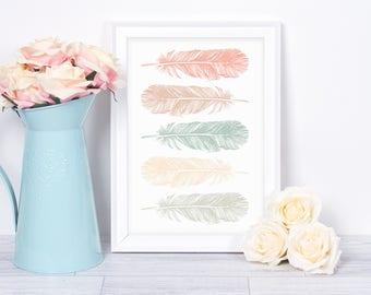 Feather Print, Feather Wall Art, Wall Art Print, Minimalist Print, Feathers, Wall Art, Scandinavian Print, Minimalist Art, Prints, Posters