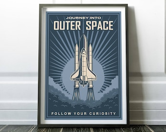 Space Poster, Wall Art Print, Space Print, Wall Art, Retro Print, Space Wall Art, Retro Wall Art, Minimalist Print, Minimalist Art, Prints