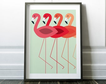 Wall Art Print, Flamingo Print, Flamingo Wall Art, Minimalist Print, Minimalist Art, Scandinavian Print, Wall Art, Flamingo Poster, Prints