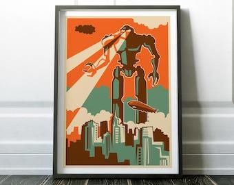 Retro Robot Print, Retro Print, Retro Poster, Robot Print, Retro Art, Wall Art Print, Retro Robot Poster, Retro Poster, Retro Prints, Art