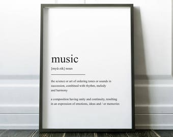Music Definition Print, Wall Art Print, Quote Print, Prints, Wall Art, Minimalist Print, Music Gift, Scandinavian Print, Music Poster