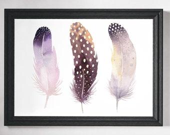 Feather Print, Feather Art, Wall Art Prints, Watercolour Print, Feathers, Wall Art, Minimalist Print, Minimalist Art, Minimalist, Prints