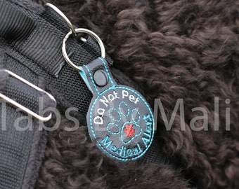 Medical Alert Paw Print Service Dog Clip On Harness Patch - More Colors Available