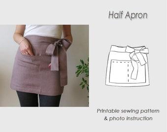 Half Apron Sewing Pattern/ Pinafore tutorial PDF/ Apron PDF pattern/ Short apron (Digital Download)/apron template/ short apron
