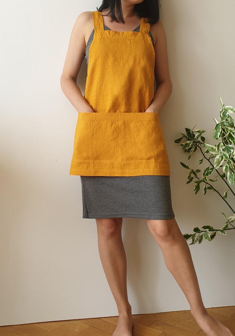 Mustard Yellow Linen cross back Apron/Short no-ties Apron / image 0