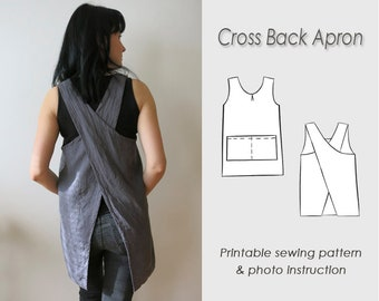 Cross back Apron Sewing Pattern/ Letter format paper or A4 /Japanese pinafore Pattern PDF/ Sewing/ Apron (Digital Download)/ Crossback