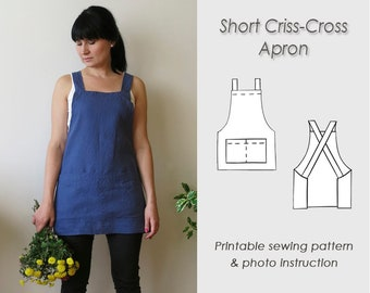 No-ties Apron Sewing Pattern/ Letter format paper or A4 /Japanese pinafore Pattern PDF/ Sewing/ Short apron (Digital Download)/ Cross back