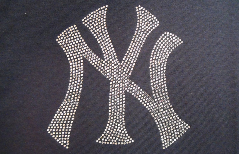 low priced 783b8 c18e3 NEW YORK YANKEES Crystal embellished Blue tee shirt - premium rhinestones  with amazing sparkle, bling and brilliance.