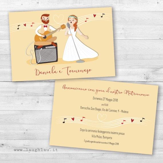 Partecipazioni Matrimonio Modena.Wedding Participations Music Theme Married Musicians Original Etsy
