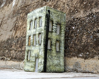 Lighted Paper House, Industrial Style Lighting, Paper Mache House, Paper Sculpture, Led Light, Home Decor, Night Light