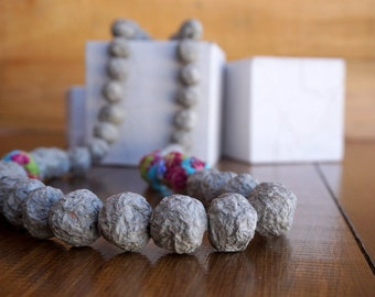 Boho Jewelry, Boho Necklace, Boho Chic, Paper Mache Necklace, Bohemian Jewelry, Recycled Jewelry, Paper Mache Beads, Fabric Beads,