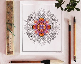 Adult Coloring Page printable INSTANT DOWNLOAD, flowery mandala, illustration, Art Therapy, relaxation 8.5 x 11