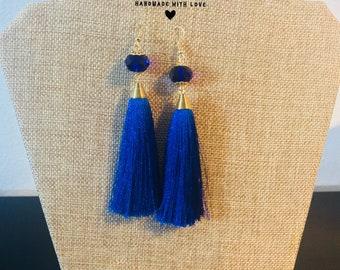 Royal Blue Fringe Earrings