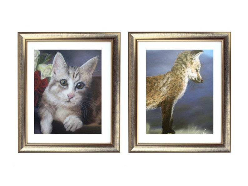 9ce1283fccb Conjunto de impresión animal, gato y zorro dibujo conjunto, arte en venta,  ilustraciones animales, realista arte imprime, arte de la pared del ...